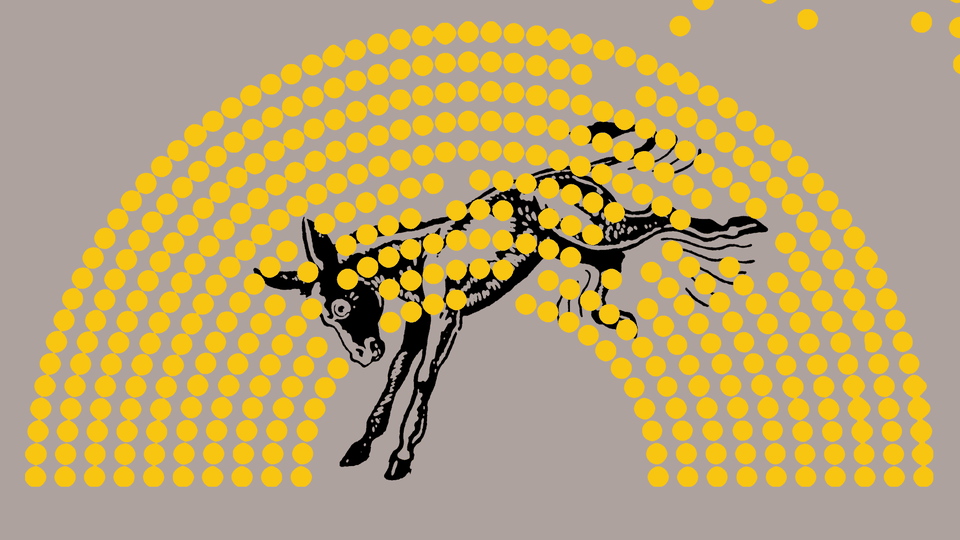 A cartoon of a donkey behind a visual representation of the political-party makeup of the House of Representatives.