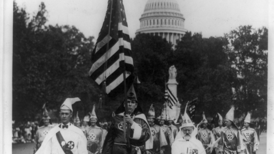 Klansmen parade in Washington, D.C. in 1926.