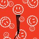 illustration of microphone with pixellated happy faces