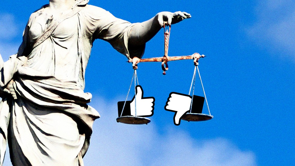 """Scales of justice with """"Like"""" and """"Dislike"""" icons"""