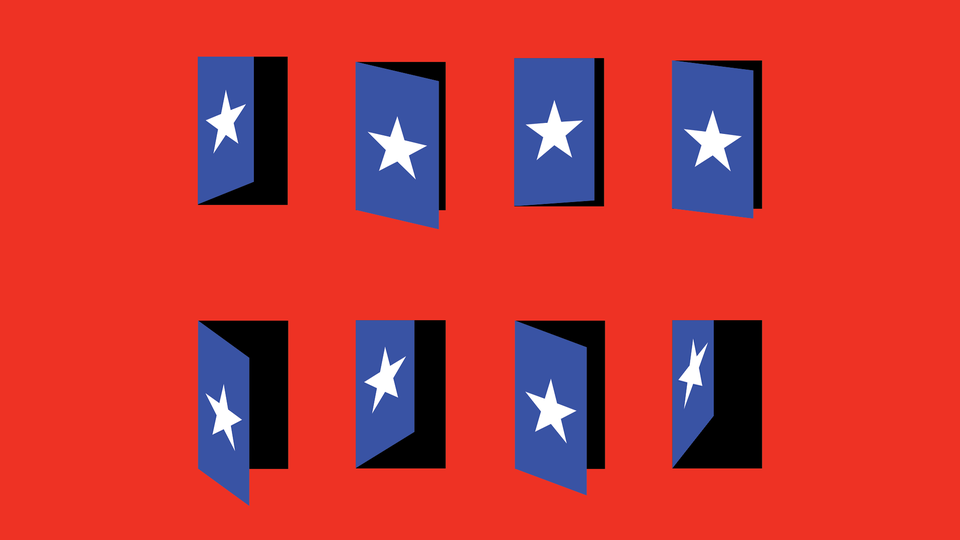 Red background with 8 blue doors, each with a white star and varying in how open or closed they are