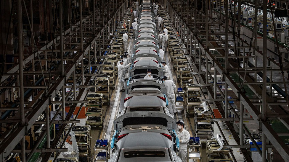 A car factory viewed from above.