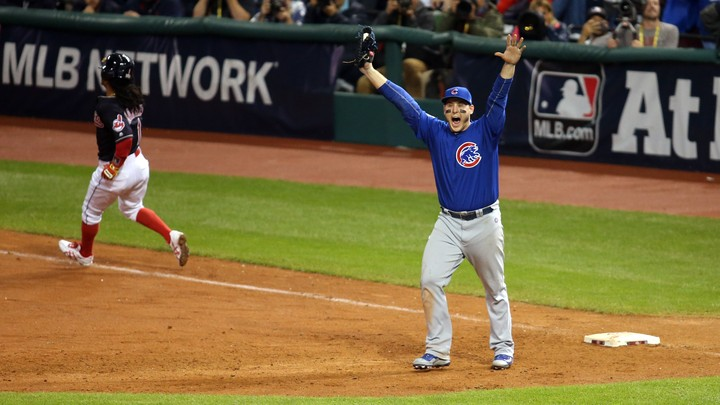 Anthony Rizzo, the first baseman for the Chicago Cubs, celebrates winning the World Series.