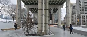 People ice skating underneath an urban expressway.