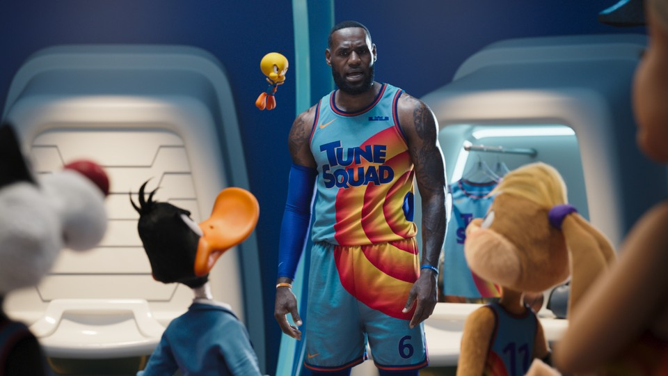 LeBron James prepares to face off in a superhuman basketball game.