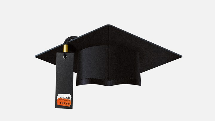 A graduation cap with a $27,600 price tag on it