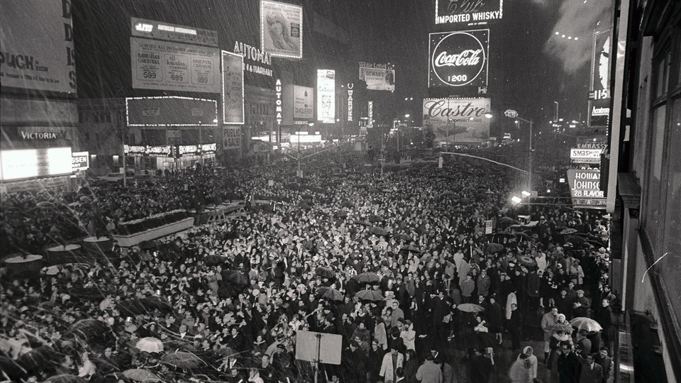 New Yorkers waiting for the Times Square New Year's Eve celebration in 1968