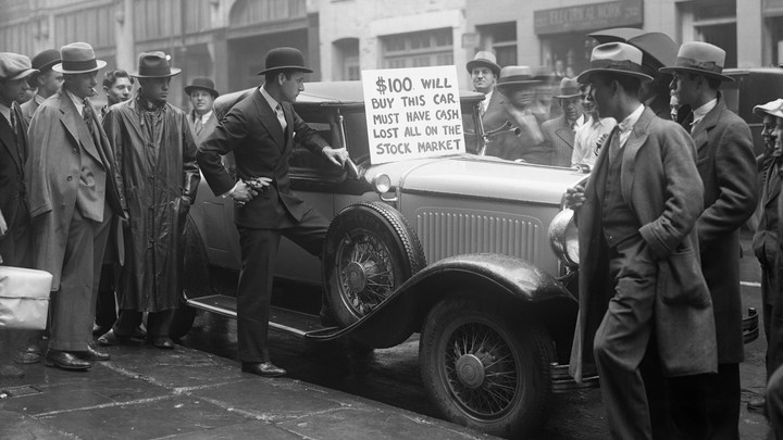A man tries to sell his car after the stock market crash.