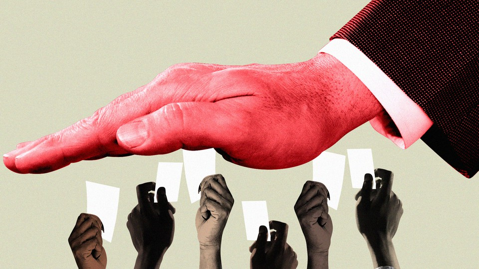 A white person's hand looms over the hands of people of color holding ballots.