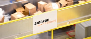 Boxes in an Amazon fulfillment center are pictured.