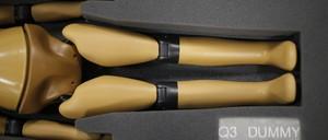The legs of a crash-test dummy.