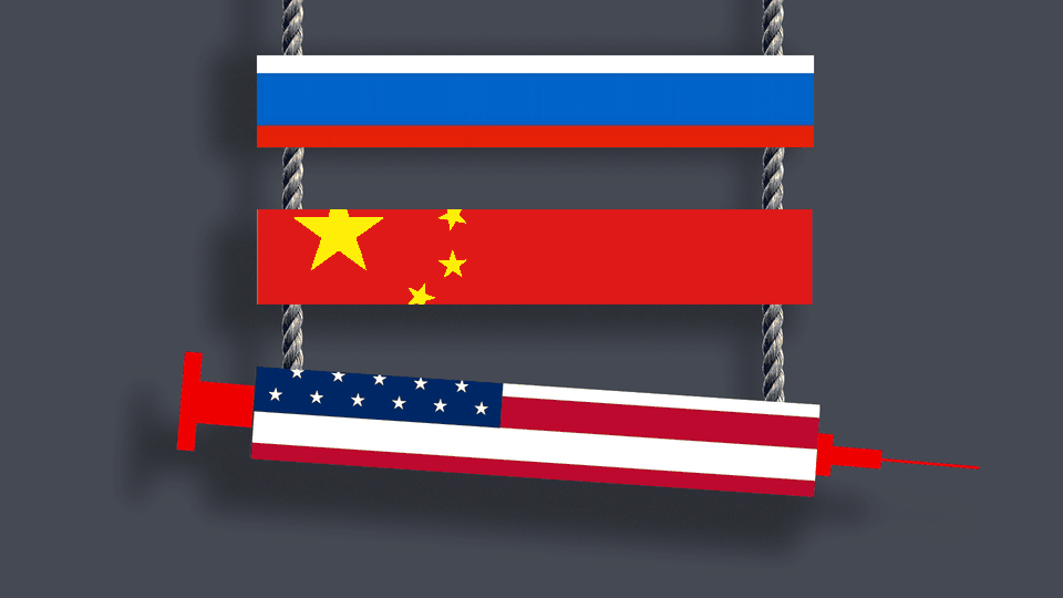 A ladder featuring Russian, Chinese, and American rungs. The American rung is shaped like a syringe.