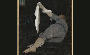illustration of prone figure raising a white veil
