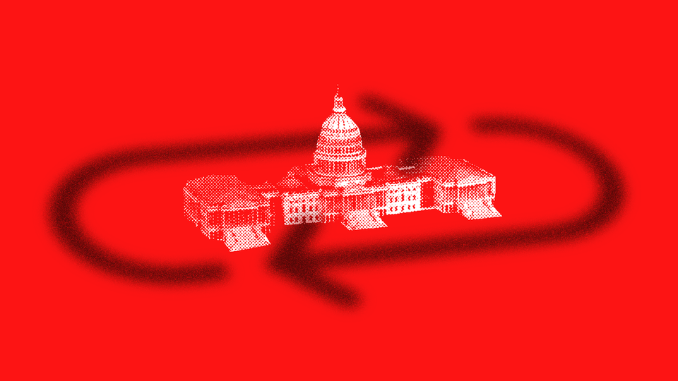An illustration shows two dark arrows circling the white U.S. Capitol building. The illustration's background is red.