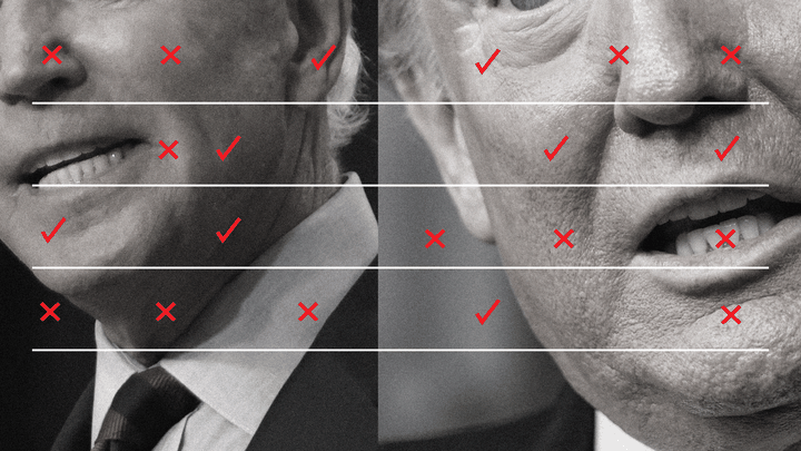 An illustration of Trump and Biden with X's and check marks