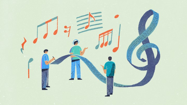An illustration of three friends creating a long playlist