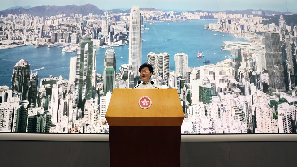 Hong Kong Chief Executive Carrie Lam speaks to journalists in Hong Kong.
