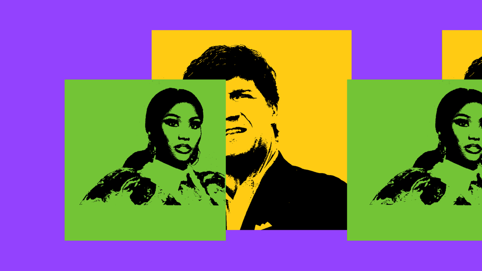Pop art of Nicki Minaj and Tucker Carlson, on purple and green background
