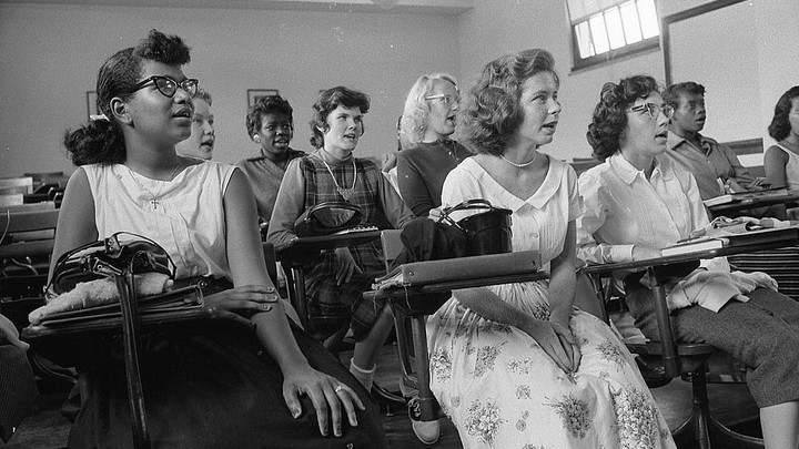 Students sit in an integrated classroom at Anacostia High School in 1957.