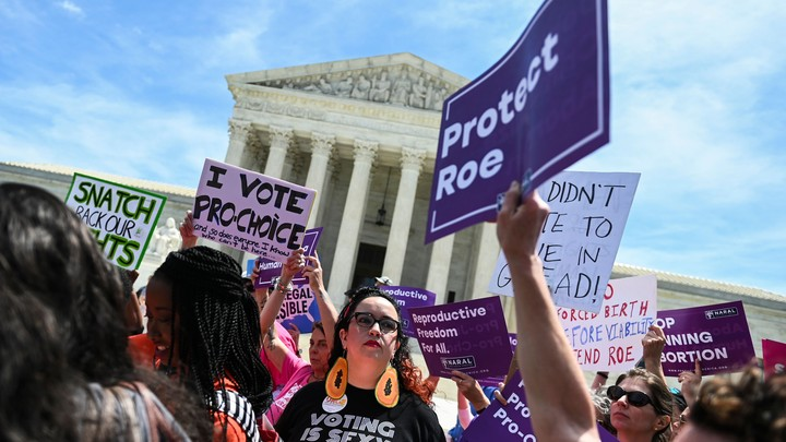 Abortion-rights activists in front of the US Supreme Court