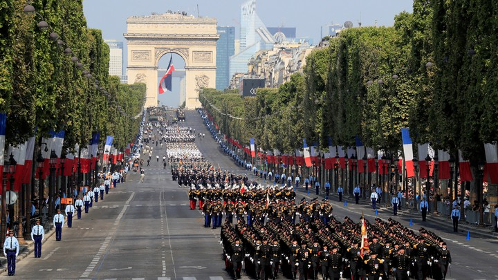 A military parade celebrating Bastille Day in Paris in 2018
