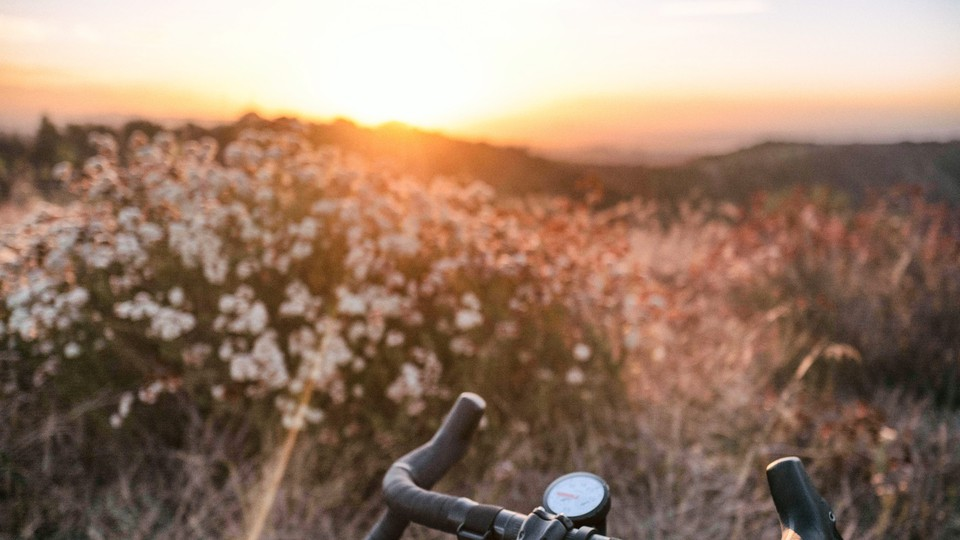 The handlebars of a bicycle in front of a natural, hilly background