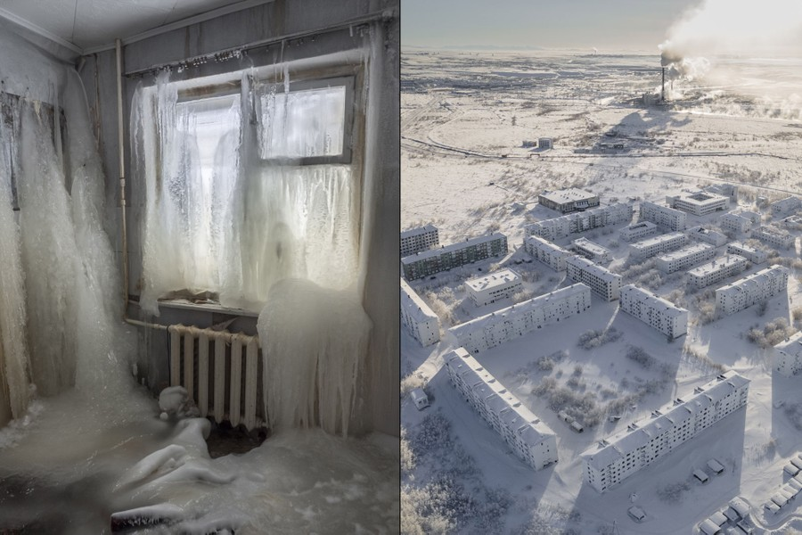At left, ice intrudes into a living space, at right, an aerial view of some of the abandoned buildings and an industrial facility.