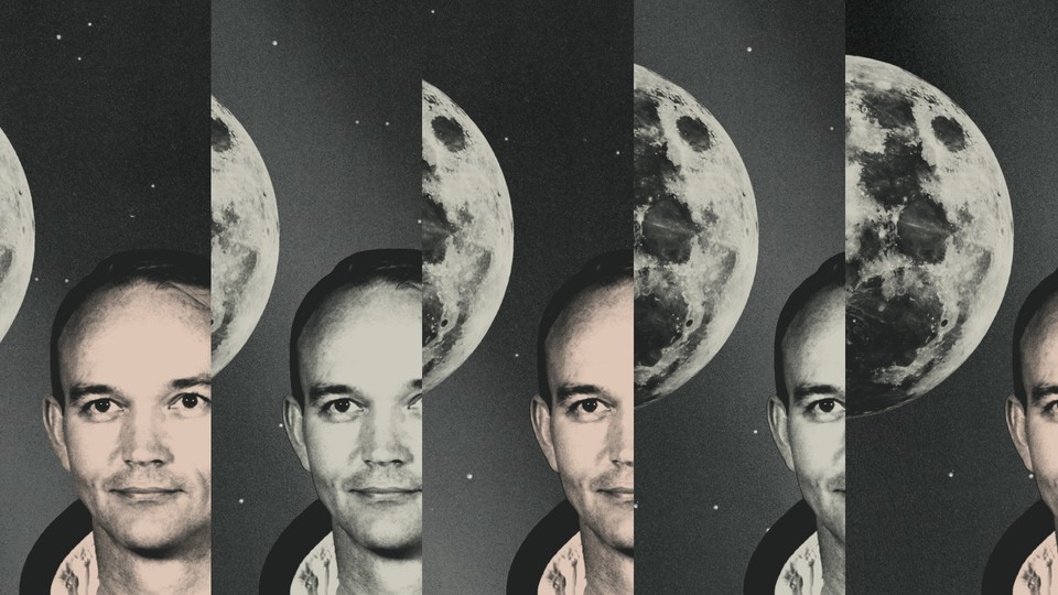 A collage of Michael Collins and the moon
