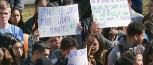 Students at Eagle Rock High School in Northeast Los Angeles take part in the walkout for gun control