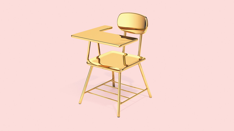 illustration: a solid gold school desk on a pink background