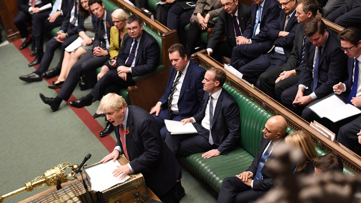 Boris Johnson delivers a speech at the dispatch box in Parliament's House of Commons.