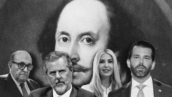 An illustration of the Rudy Giuliani, Jerry Falwell Jr., Ivanka Trump, and Don Jr. in front of a picture of Shakespeare.