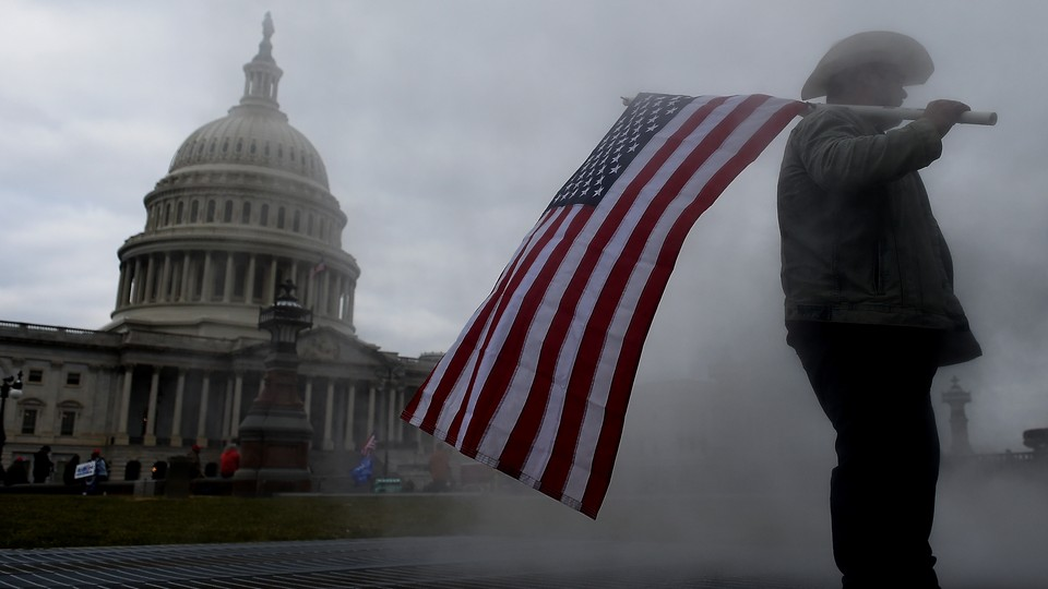An insurrectionist at the U.S. Capitol on January 6, 2021