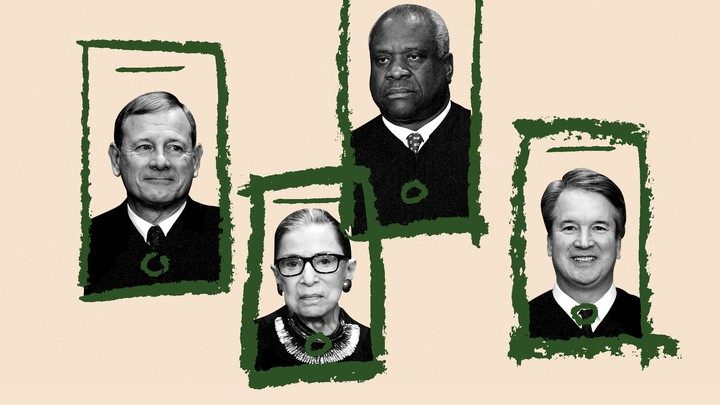 An illustration of Supreme Court justices with video chat boxes around them.