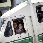 a photo of an electric Safa Tempi mini-bus in Kathmandu, Nepal.