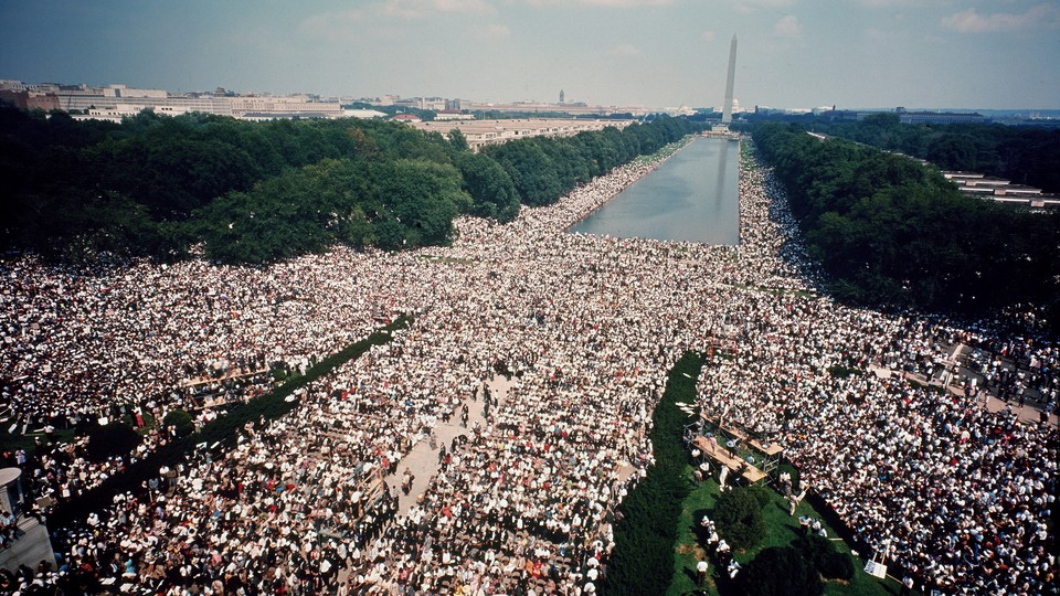 A massive crowd assembled on the National Mall during the March on Washington.