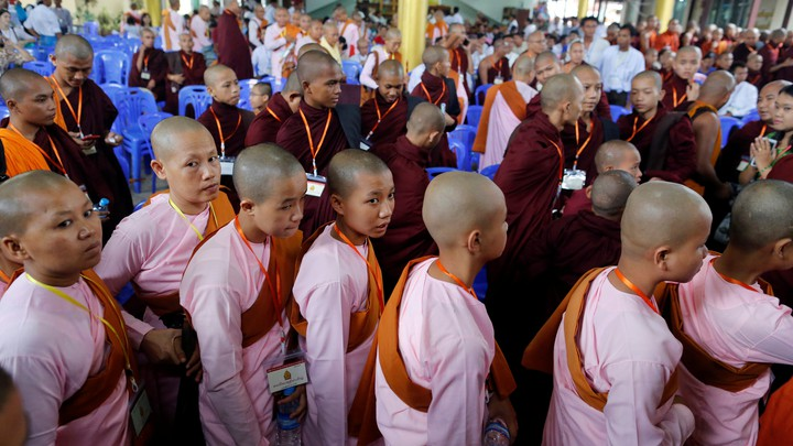 Buddhist ultranationalist monks from the Ma Ba Tha group attend a meeting to celebrate their anniversary with a nationwide conference in Yangon on May 27, 2017.