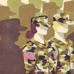 Two women in Army fatigues stand in a sea of silhouettes of male soldiers
