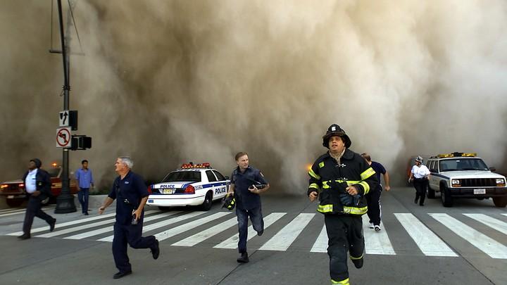 People running from smoke