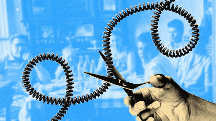 An illustration of a pair of scissors cutting a phone cord, with a portrait of a family in the background