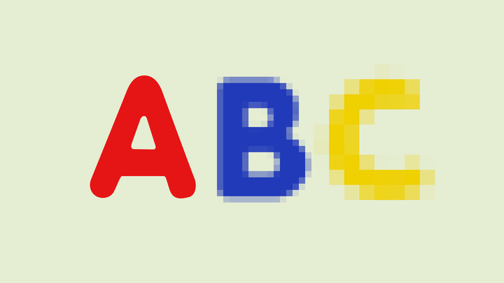 A pixelated A, B, and C