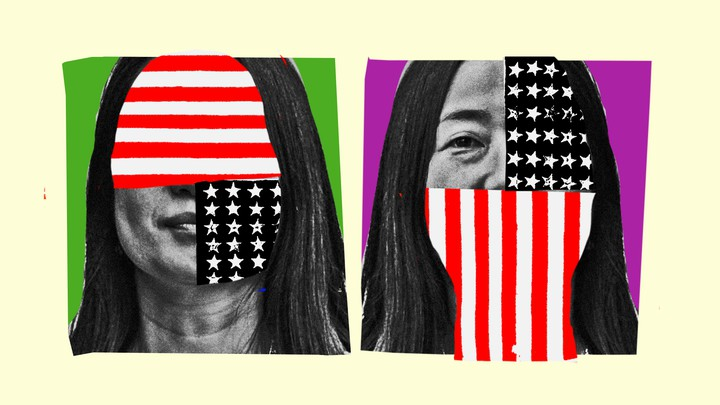 An Asian American woman whose face is covered by the American flag
