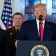 U.S. President Donald Trump delivers a statement about Iran flanked by U.S. Defense Secretary Mark Esper, Army Chief of Staff General James McConville and Chairman of the Joint Chiefs of Staff Army General Mark Milley in the Grand Foyer at the White House in Washington, U.S.