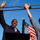 Georgia Democratic candidates for Senate Raphael Warnock and Jon Ossoff wave