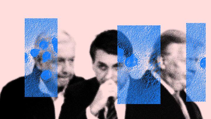 Thee photographs of the Mexican president, Andrés Manuel López Obrador, Brazilian president Jair Bolsonaro, and former U.S. president Donald Trump
