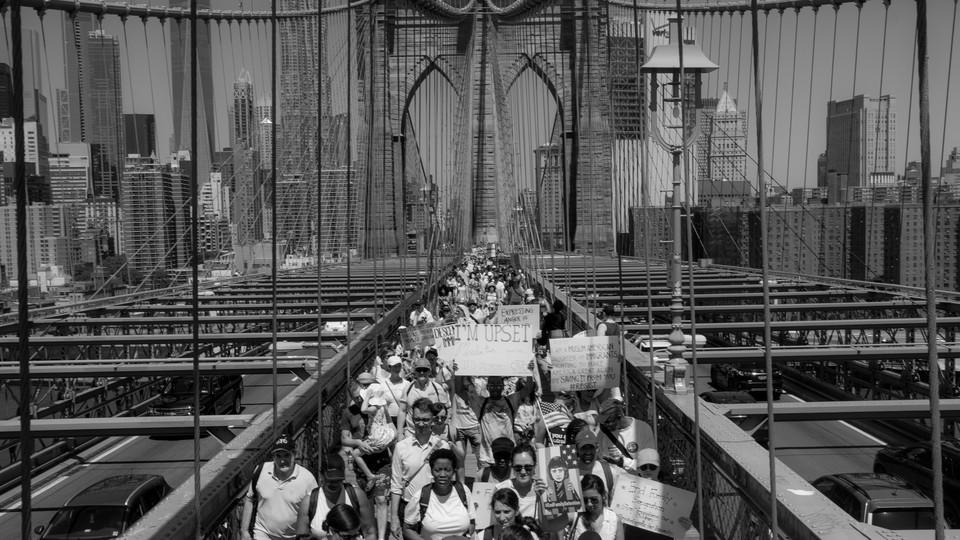 Protest on a bridge