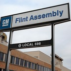 The sign for General Motors Flint Assembly Plant in Flint, Michigan.