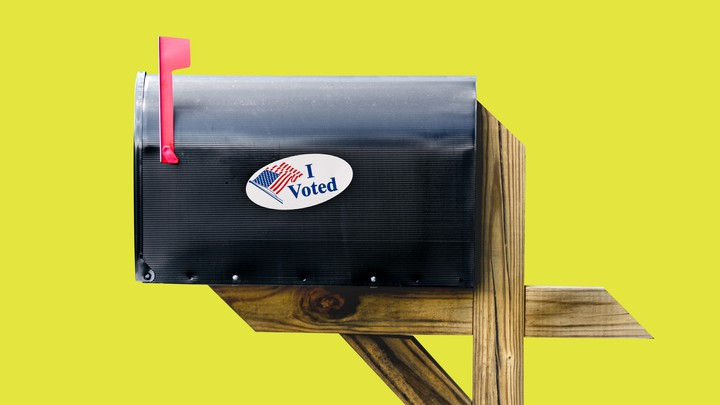 "A mailbox with an ""I Voted"" sticker"