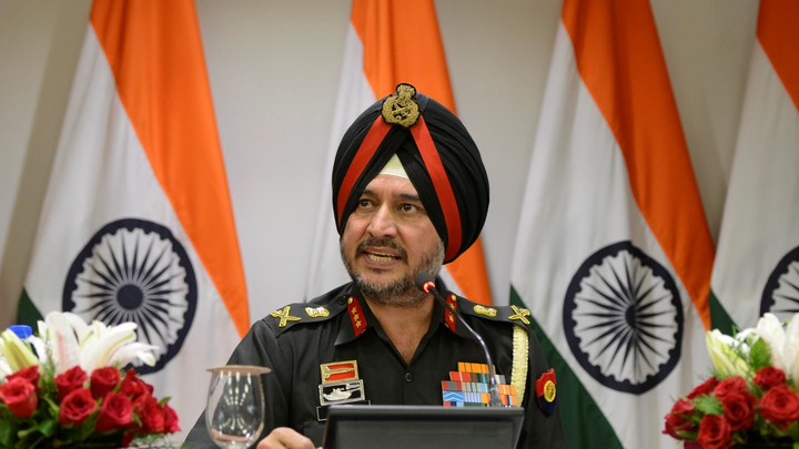 Lieutenant General Ranbir Singh, the Indian army's director general of military operations, addresses the media in New Delhi, India, on Thursday.