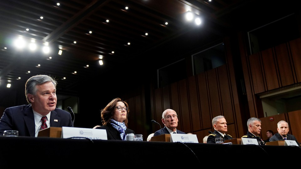"""Leaders of the intelligence community testify to the Senate Intelligence Committee about """"worldwide threats"""" on January 29, 2019."""
